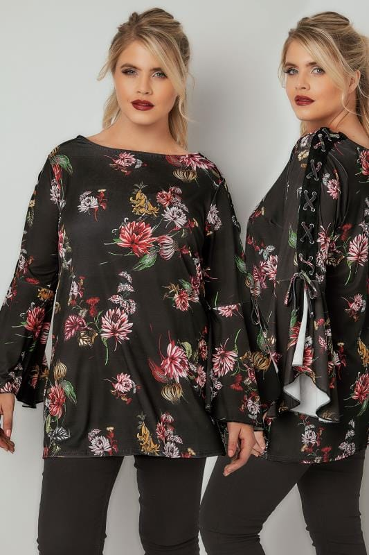 Plus Size Jersey Tops LIMITED COLLECTION Black & Multi Floral Top With Lace-Up Shoulders & Flute Sleeves
