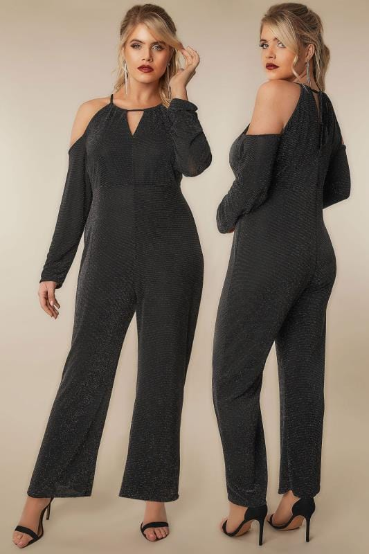 Plus Size Jumpsuits LIMITED COLLECTION Black & Multi Glitter Jumpsuit With Cold Shoulders