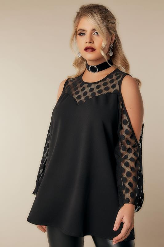LIMITED COLLECTION Black Open Arm Top With Spot Mesh Insert