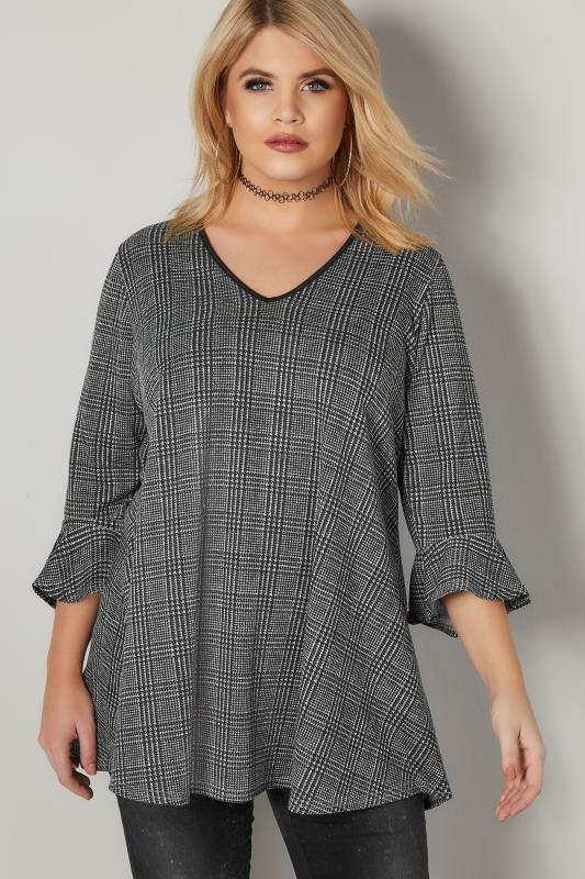 Plus Size Jersey Tops LIMITED COLLECTION Black Oversized Checked Top With Flute Sleeves