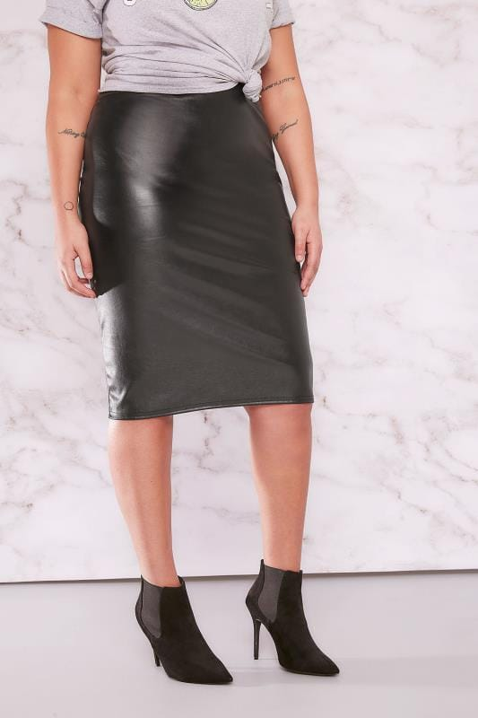 Plus Size Pencil Skirts LIMITED COLLECTION Black PU Midi Pencil Skirt