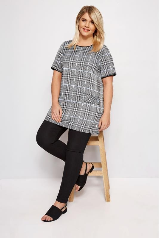 Plus Size Smart Jersey Tops LIMITED COLLECTION Black & Pale Blue Check Tunic