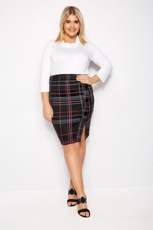 Plus Size Pencil Skirts LIMITED COLLECTION Black & Pink Check Button Pencil Skirt