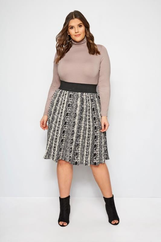 Plus Size Midi Skirts LIMITED COLLECTION Black Pleated Snake Print Skirt