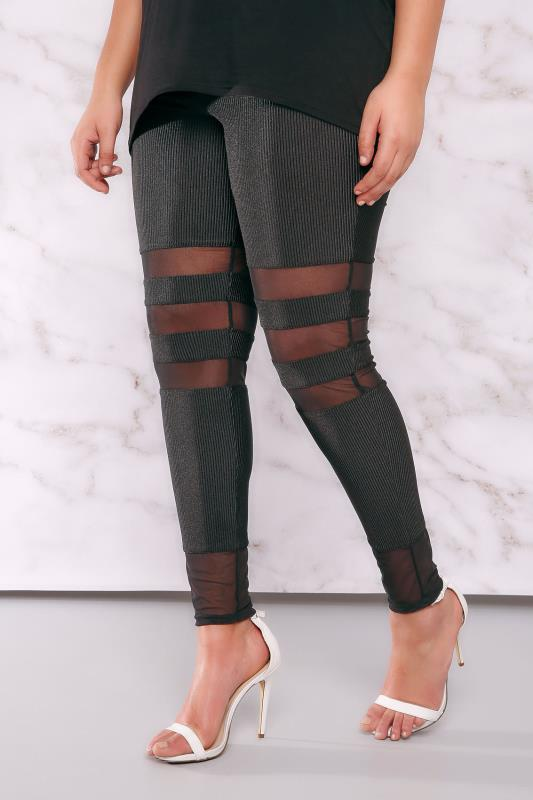 Fashion Leggings LIMITED COLLECTION Black Plisse Leggings With Mesh Inserts 210017