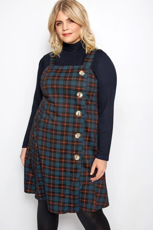 Plus Size Pinafore Dresses LIMITED COLLECTION Black & Red Check Button Pinafore Dress