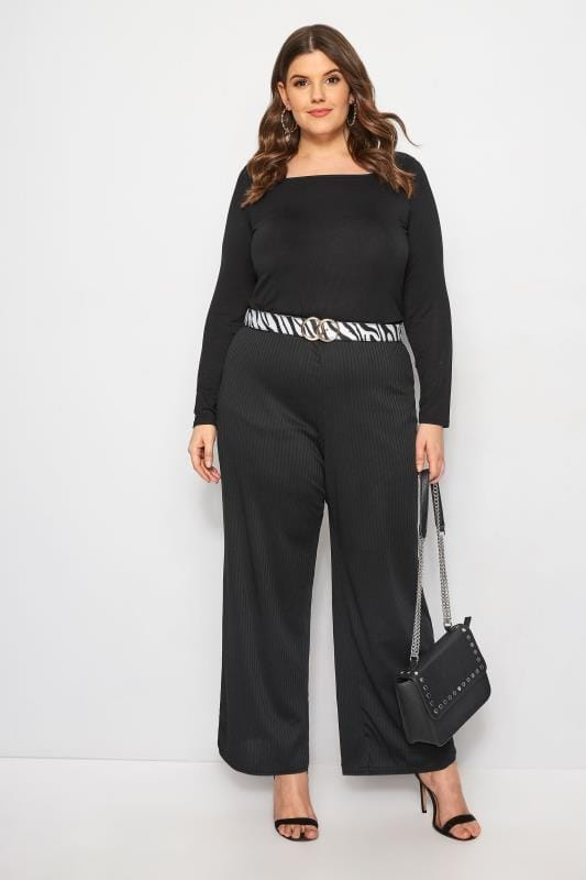 LIMITED COLLECTION Black Ribbed Wide Leg Trousers