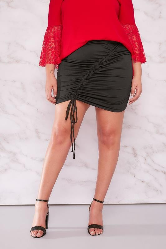 LIMITED COLLECTION Black Ruched Midi Skirt