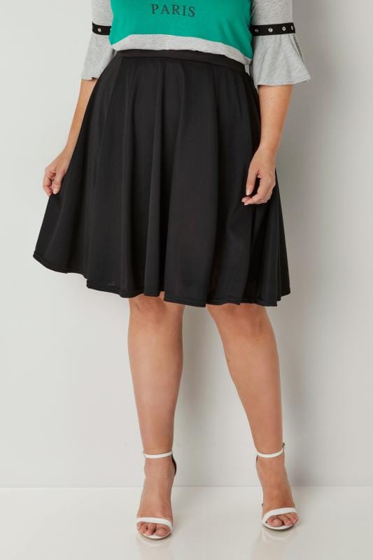 Plus Size Skater Skirts LIMITED COLLECTION Black Skater Skirt