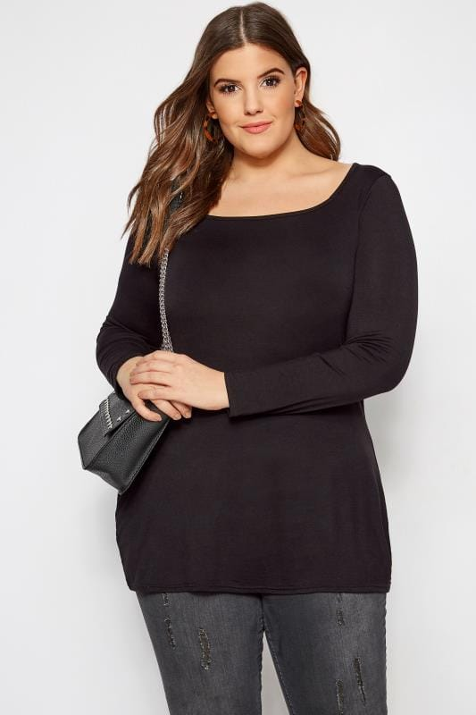 Plus Size Basic T-Shirts & Vests LIMITED COLLECTION Black Square Neck Jersey Top