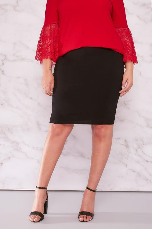 LIMITED COLLECTION Black Stretch Midi Skirt