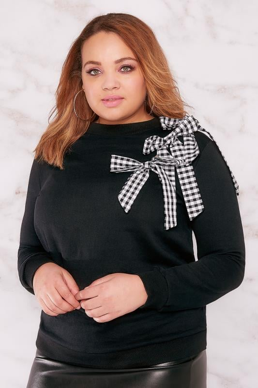 LIMITED COLLECTION Black Sweat Top With Gingham Bow Detail