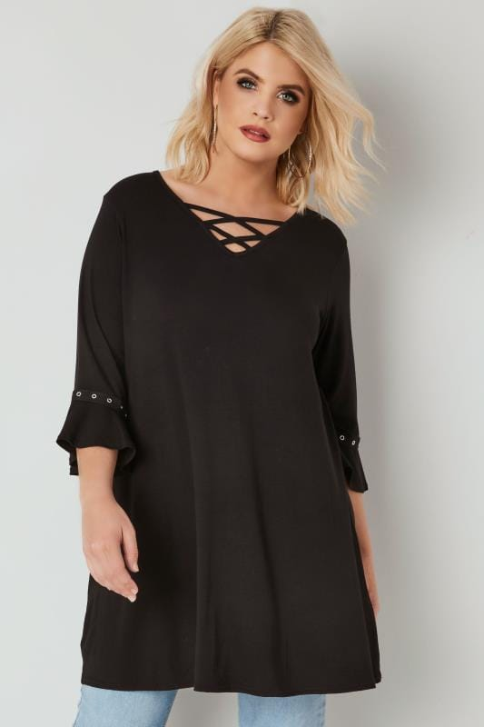 Plus Size Jersey Tops LIMITED COLLECTION Black Swing Top With Lattice Neckline & Flute Sleeves