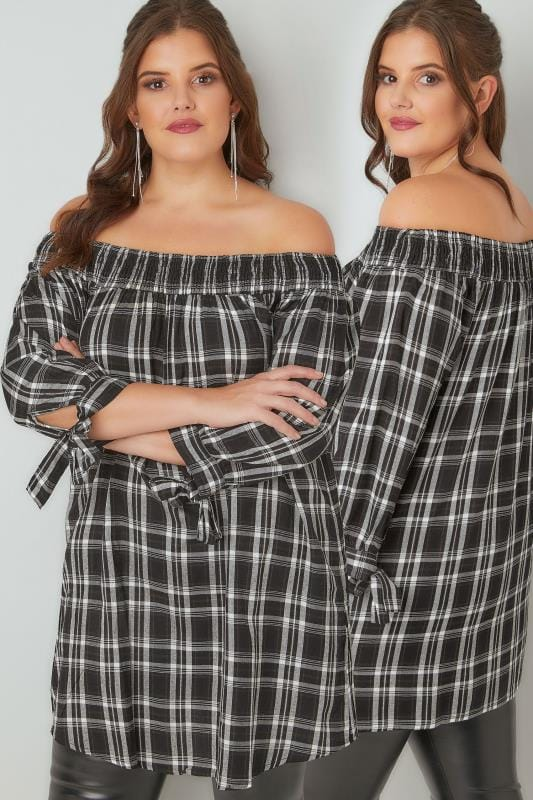 Plus Size Bardot & Cold Shoulder Tops LIMITED COLLECTION Black & White Checked Bardot Top With Tie Sleeves