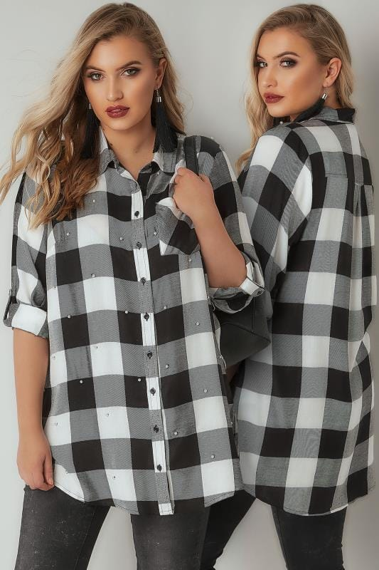 LIMITED COLLECTION Black & White Check Shirt With Pearlescent Embellishment