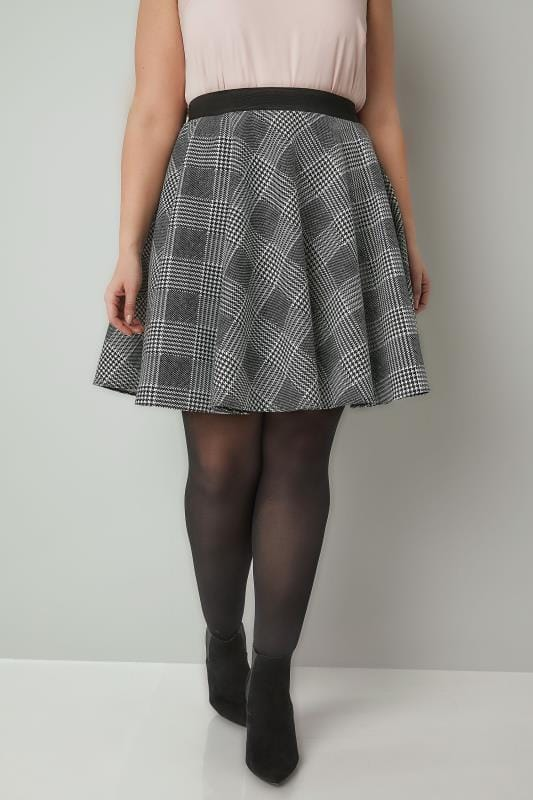 Plus Size Skater Skirts LIMITED COLLECTION Black & White Checked Skater Skirt