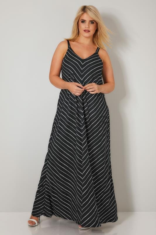 LIMITED COLLECTION Black & White Chevron Striped Maxi Dress
