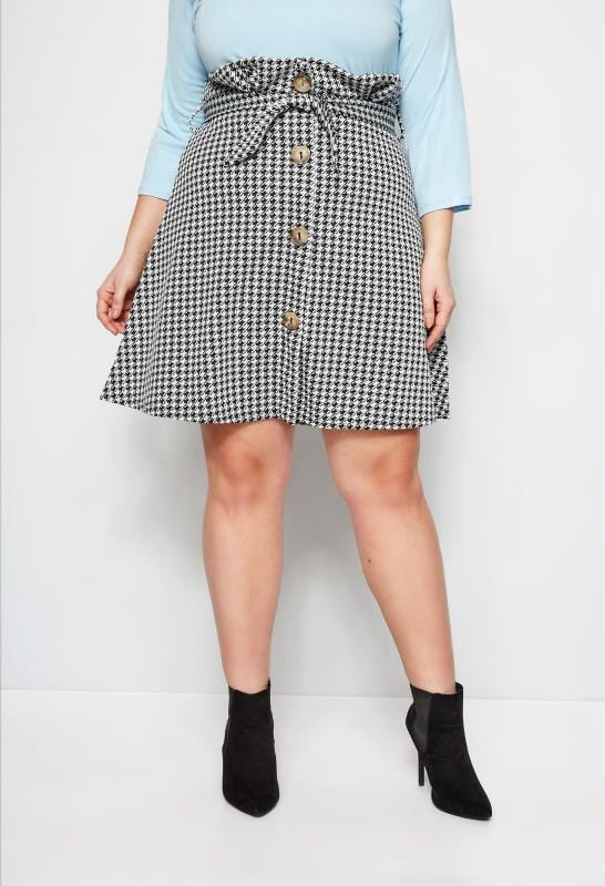 Plus Size Skater Skirts LIMITED COLLECTION Black & White Dogtooth Paperbag Skirt