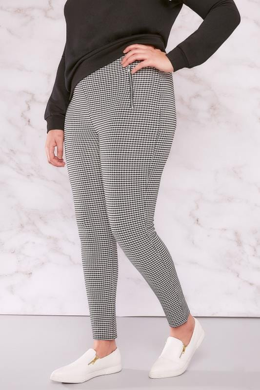 LIMITED COLLECTION Black & White Gingham Jeggings With Double Zip Detail