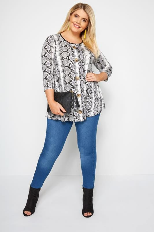 LIMITED COLLECTION Black & White Snake Button Top