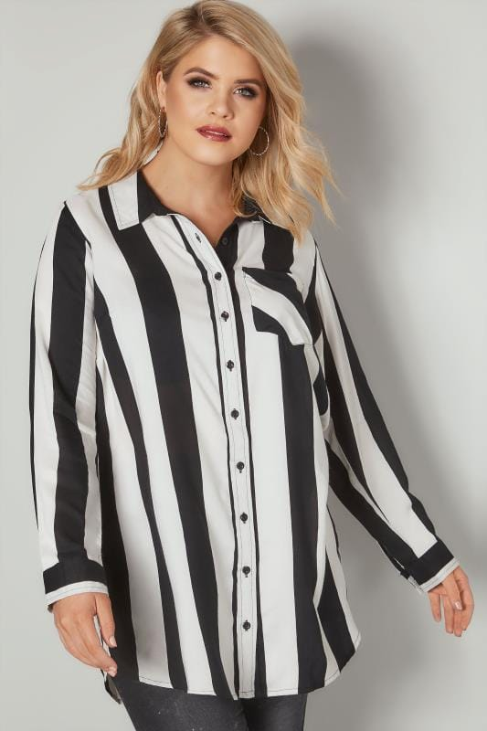 Plus Size Shirts LIMITED COLLECTION Black & White Stripe Shirt