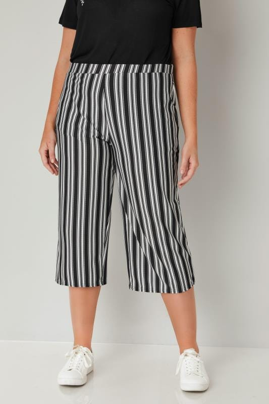 Plus Size Culottes LIMITED COLLECTION Black & White Striped Culottes