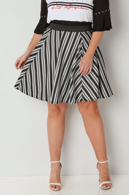 Plus Size Skater Skirts LIMITED COLLECTION Black & White Striped Skater Skirt