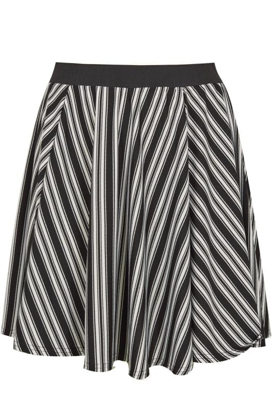 LIMITED COLLECTION Black & White Striped Skater Skirt