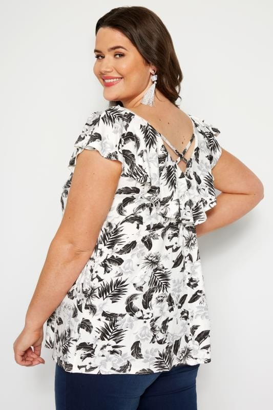 Tops de flores Tallas Grandes LIMITED COLLECTION Top blanco y negro diseño tropical