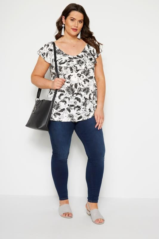 LIMITED COLLECTION Black & White Tropical Cross Back Top