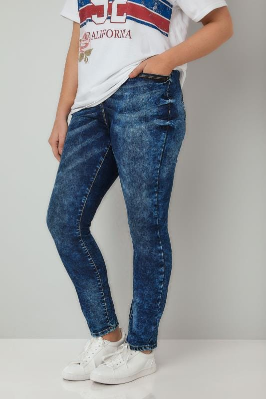 Plus Size Skinny Jeans LIMITED COLLECTION Blue Acid Wash Skinny Jeans