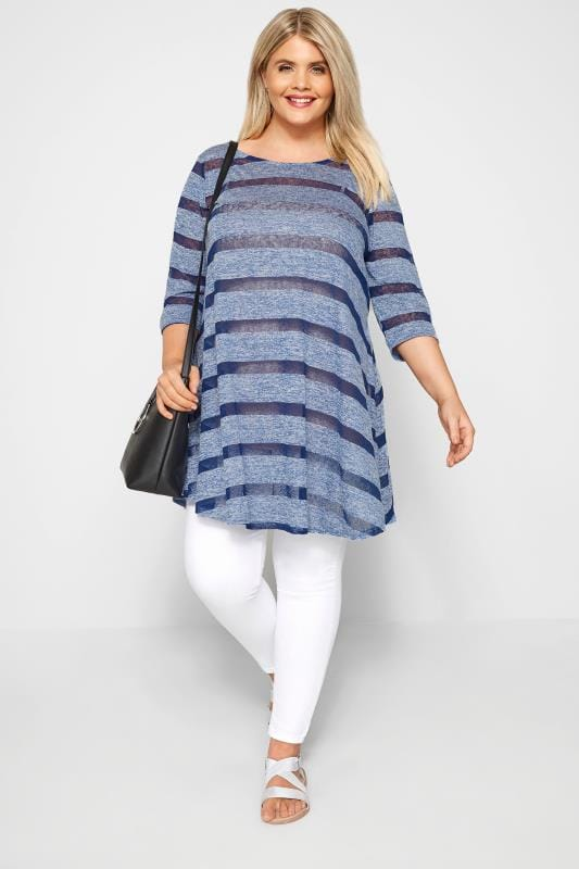 LIMITED COLLECTION Blue Burnout Striped Tunic Top