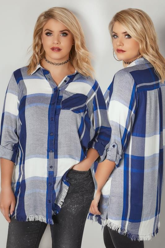 Plus Size Blouses & Shirts LIMITED COLLECTION Blue Checked Shirt With Frayed Hem & Roll Up Sleeves
