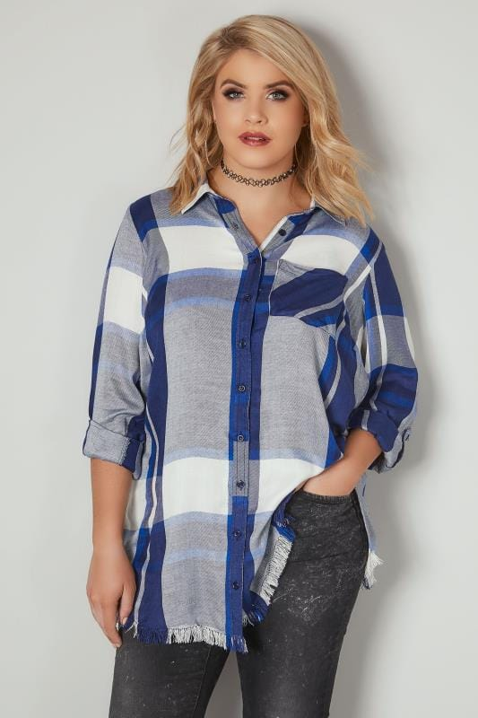 LIMITED COLLECTION Blue Checked Shirt With Frayed Hem & Roll Up Sleeves
