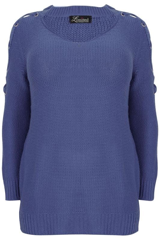 Jumpers LIMITED COLLECTION Blue Choker Jumper With Lace Sleeves 210313