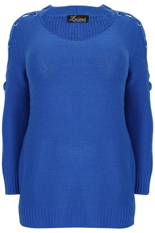 Jumpers LIMITED COLLECTION Royal Blue Choker Jumper With Lace Sleeves 210316