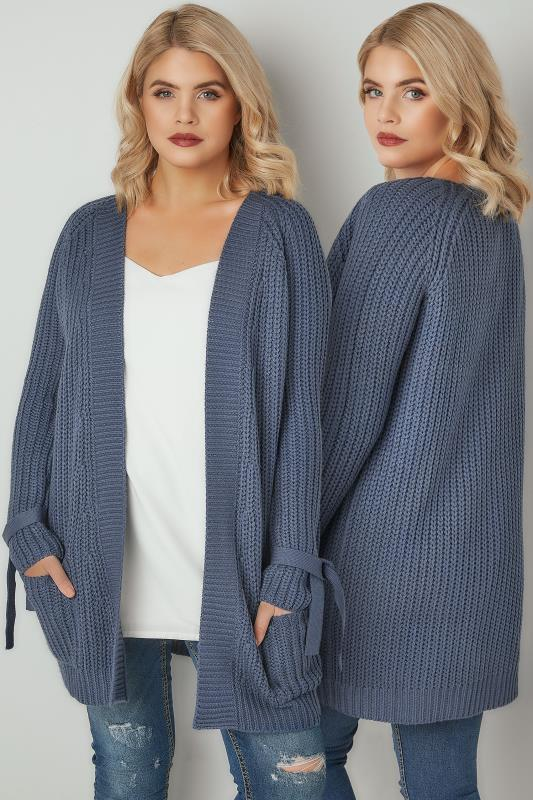 Plus Size Cardigans LIMITED COLLECTION Blue Chunky Knit Bow Sleeve Cardigan