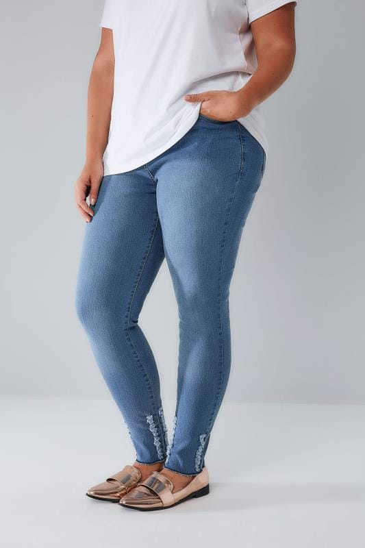 Plus Size Skinny Jeans LIMITED COLLECTION Blue Denim Skinny Jeans With Frayed Detail & Raw Cuffs