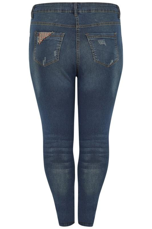 Plus Size Skinny Jeans LIMITED COLLECTION Blue Vintage Washed Skinny Jeans With Patchwork Details