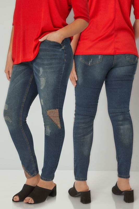 LIMITED COLLECTION Blue Vintage Washed Skinny Jeans With Patchwork Details