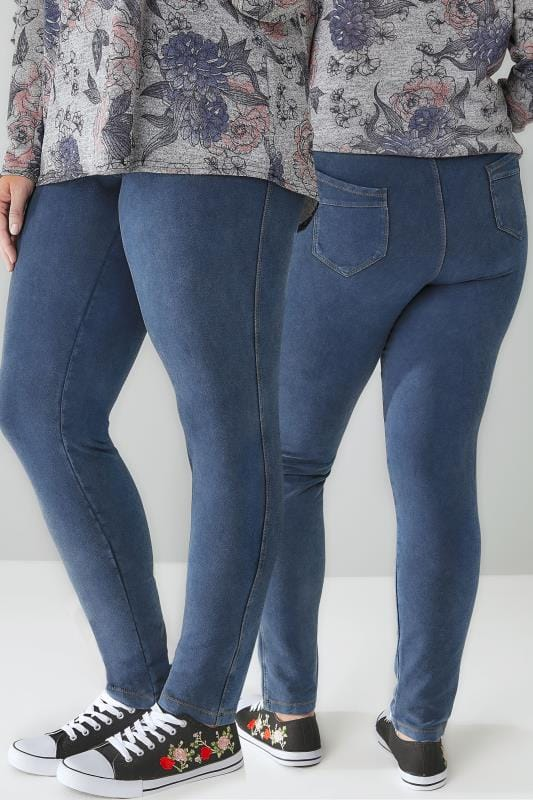 LIMITED COLLECTION Blue Washed Denim Pull On Stretch Jeggings
