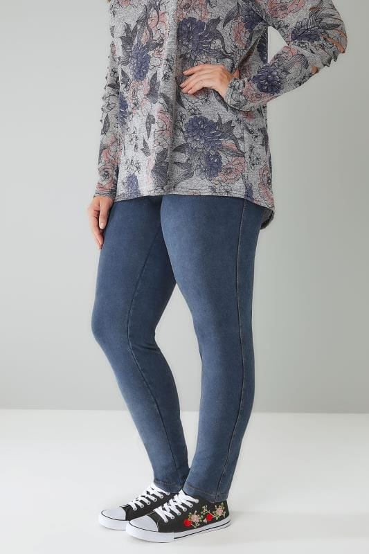 Plus Size Jeggings LIMITED COLLECTION Blue Washed Denim Pull On Stretch Jeggings