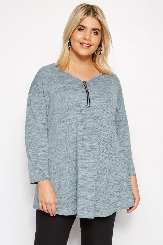 Plus Size Knitted Tops & Sweaters LIMITED COLLECTION Blue Zip Front Top