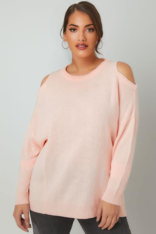LIMITED COLLECTION Blush Pink Cold Shoulder Knitted Jumper With Lattice Back