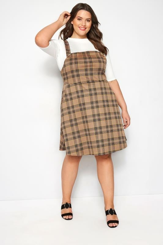 Plus Size Pinafore Dresses LIMITED COLLECTION Brown Check Pinafore Dress
