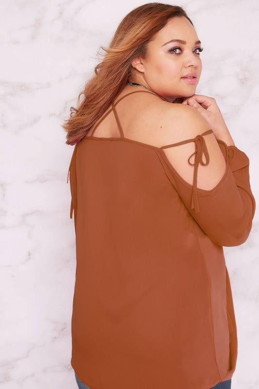LIMITED COLLECTION Brown Cold Shoulder Wrap Top With Lattice Straps