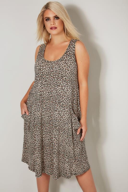 Plus Size Midi Dresses LIMITED COLLECTION Brown Leopard Print Drape Pocket Dress