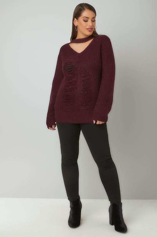 LIMITED COLLECTION Burgundy Chunky Knitted Distressed Jumper With Choker Neck