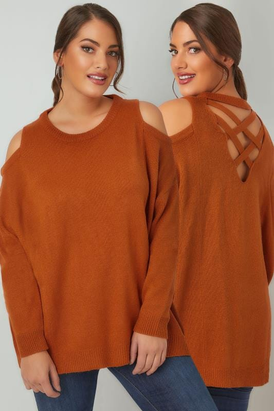 LIMITED COLLECTION Burnt Orange Cold Shoulder Knitted Jumper With Lattice Back