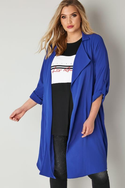 Plus Size Cover Ups LIMITED COLLECTION Cobalt Blue Duster Jacket